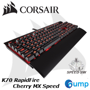 จำหน่าย-ขาย Corsair K70 RapidFire Cherry MX Speed Mechanical Gaming Keyboard - Red LED