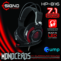 จำหน่าย-ขาย Signo E-Sport HP-816 MONOCEROS 7.1 Surround Sound Vibration Gaming Headphone (Black)