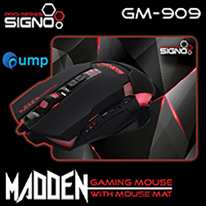จำหน่าย-ขาย Signo GM-909Blk Madden Gaming Mouse With Mouse Mat (Black)