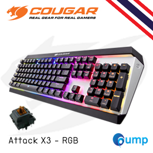 จำหน่าย-ขาย Cougar Attack X3 RGB Mechanical Gaming Keyboard (Cherry MX Brown) แถม Thai Keycap
