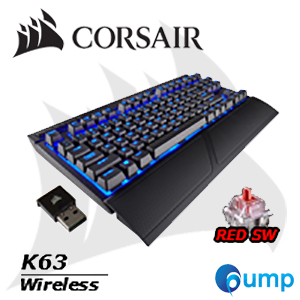 จำหน่าย-ขาย Corsair K63 Wireless Mechanical Gaming Keyboard Blue LED Cherry MX Red (ENG) แถมฟรี Keycaps Thai