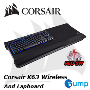 จำหน่าย-ขาย SET - Corsair K63 Wireless Mechanical Gaming Keyboard and Gaming Lapboard Combo Blue LED Cherry MX Red