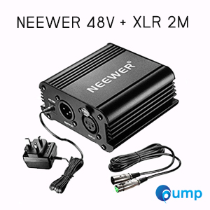 Neewer 48 Volt Phantom Power Supply + สายไมโครโฟน XLR 2m