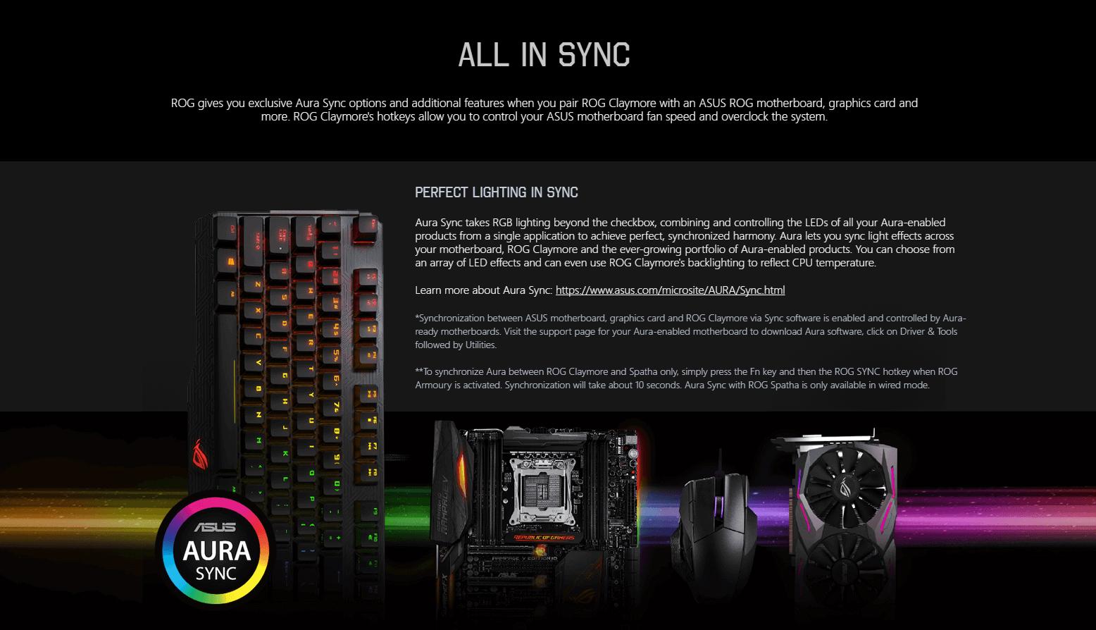 ขาย ASUS ROG Claymore RGB Cherry MX Blue Mechanical Gaming Keyboard