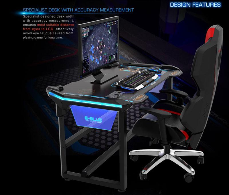 E Blue Glowing PC Gaming DESK